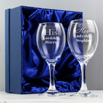 Personalised His & Her Wine Glass Set