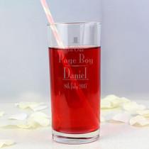 Personalised Decorative Wedding Page Boy Hi Ball Glass