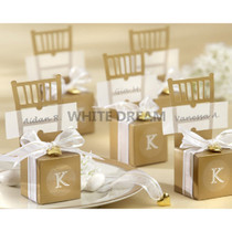 Miniature Gold Chair Favour Box with Ribbon & Gold Heart