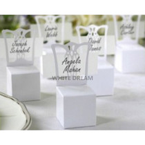 Miniature White Chair Favour Box & Place Card Holder with Ribbon & Silver Heart
