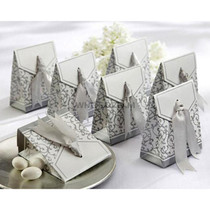 Silver - Candy Favour Boxes with Ribbon