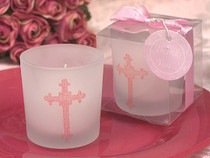 Pink Blessed Events Cross Design Candle Holder