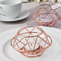 Geometric Design Rose Gold Metal Tealight Candle Holder From White Dreams