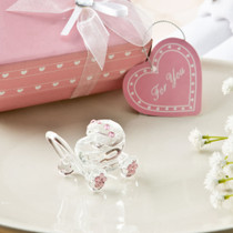 Choice Crystal Collection Clear Crystal Glass Baby Carriage With Pink Crystal Design Accents