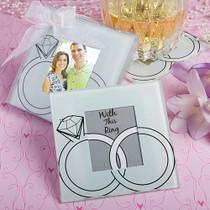 Wedding Rings Design Glass Photo Coasters