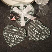 Heart Design Glass Coaster Favours Set of