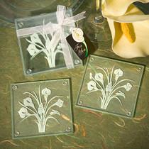 Calla Lily Bouquet Design Glass Coaster Sets Set of 2
