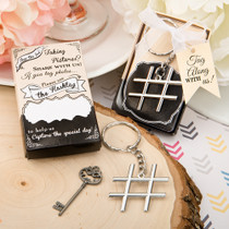 Hash tag Love Collection Chrome Finish Silver Metal Key Chain