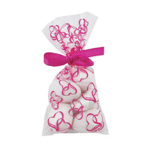 25 x Mini Hot Pink Hearts Cellophane Bags