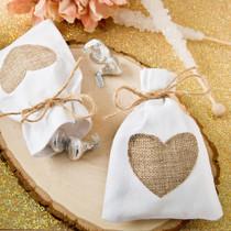 12 x Rustic Vintage Shabby Chic White Cotton Favour Bag With Burlap Heart Applique