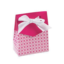 12 x Hot Pink Tent Favour Boxes With Ribbon