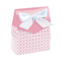 12 x Light Pink Tent Favour Boxes With Ribbon