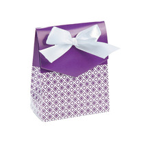 12 x Purple Tent Favour Boxes With Ribbon