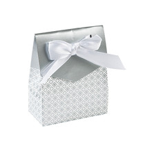 12 x Silver Tent Favour Boxes With Ribbon