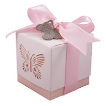 5 x Pink Laser Cut Butterfly Favour Box