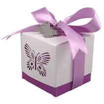 5 x Purple Laser Cut Butterfly Favour Box