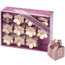 12 Mini Pink Square Boxes With Flower