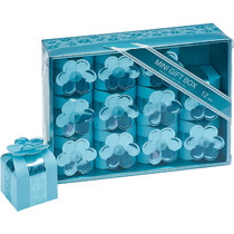 12 Mini Blue Square Boxes With Flower