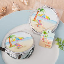 Beach Design Silver Metal Compact Mirror With Epoxy Top From White Dream