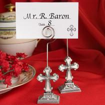 Elegant Cross Design Place Card Photo Holders