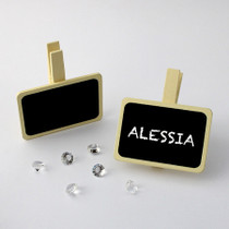 Pack of 6 Ivory Clip Rectangle Shape Chalkboard Place Card