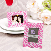 Pink Zebra Pattern Place Card Holder, Picture Frame Favours