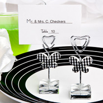 White And Black Butterfly Design Place Card, Photo Holders