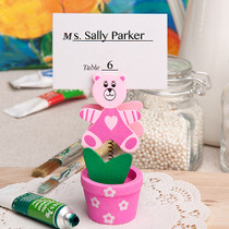 Pink Teddy Bear Flower Pot Place Card Photo Holder
