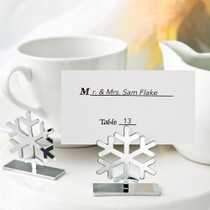 Snow Flake Design Place Card Photo Holders From White Dream