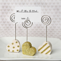 Heart Shaped Place Card Holders, Three Assorted Styles in Gold And Pearl White