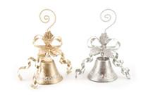Set of 2 Gold And Silver Hanging Bells Photo Card Holder