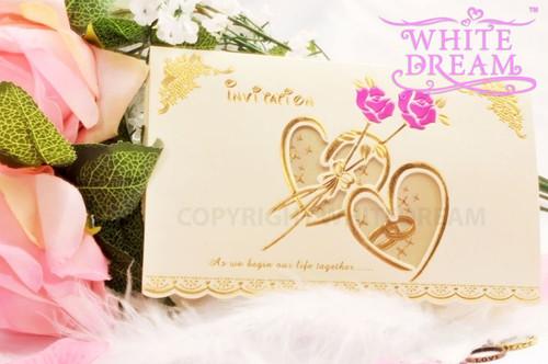 Personalised Luxury Rose & Hearts Wedding Invitations