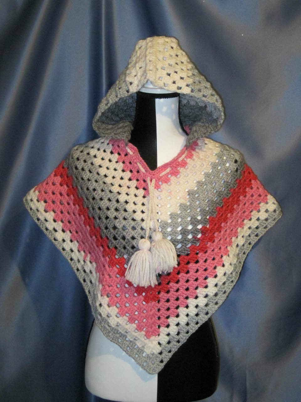 Granny Stitch Poncho with Hood in Pink, Grey and White.