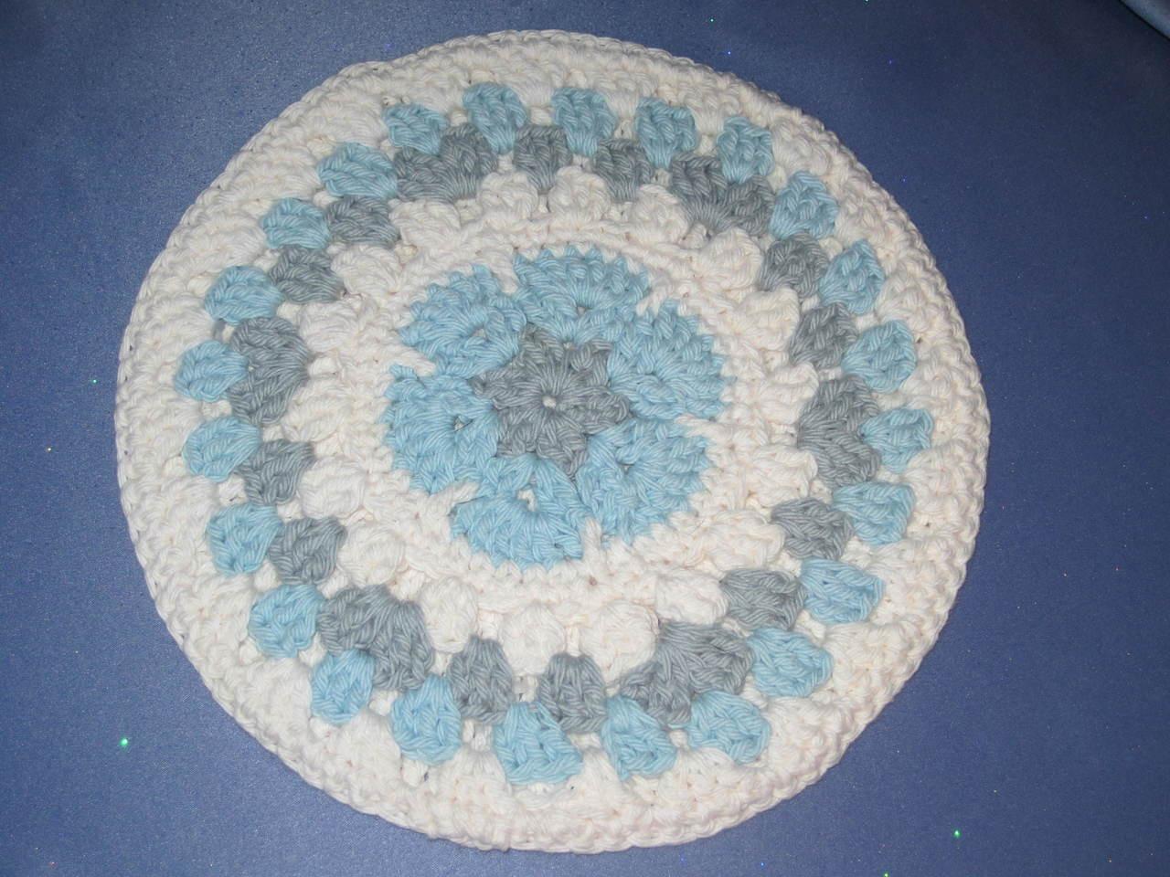 Round African Flower Potholder-Trivet in Light Blue and