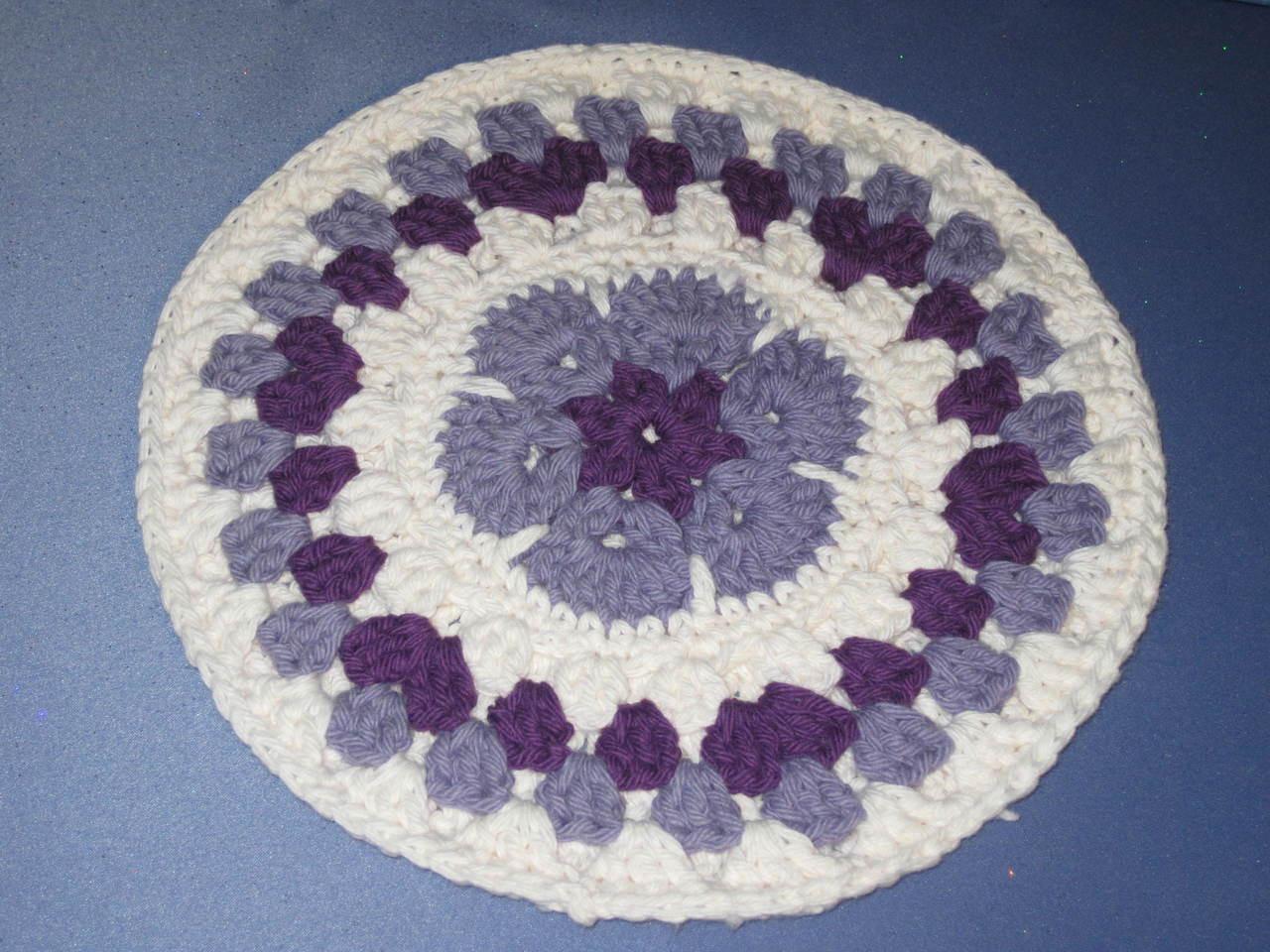 Round African Flower Potholder-Trivet in Lavender and V