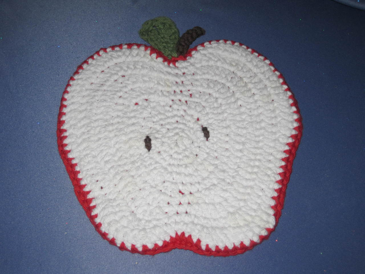 Apple Shaped Potholder in Red and White by Mumsie of St