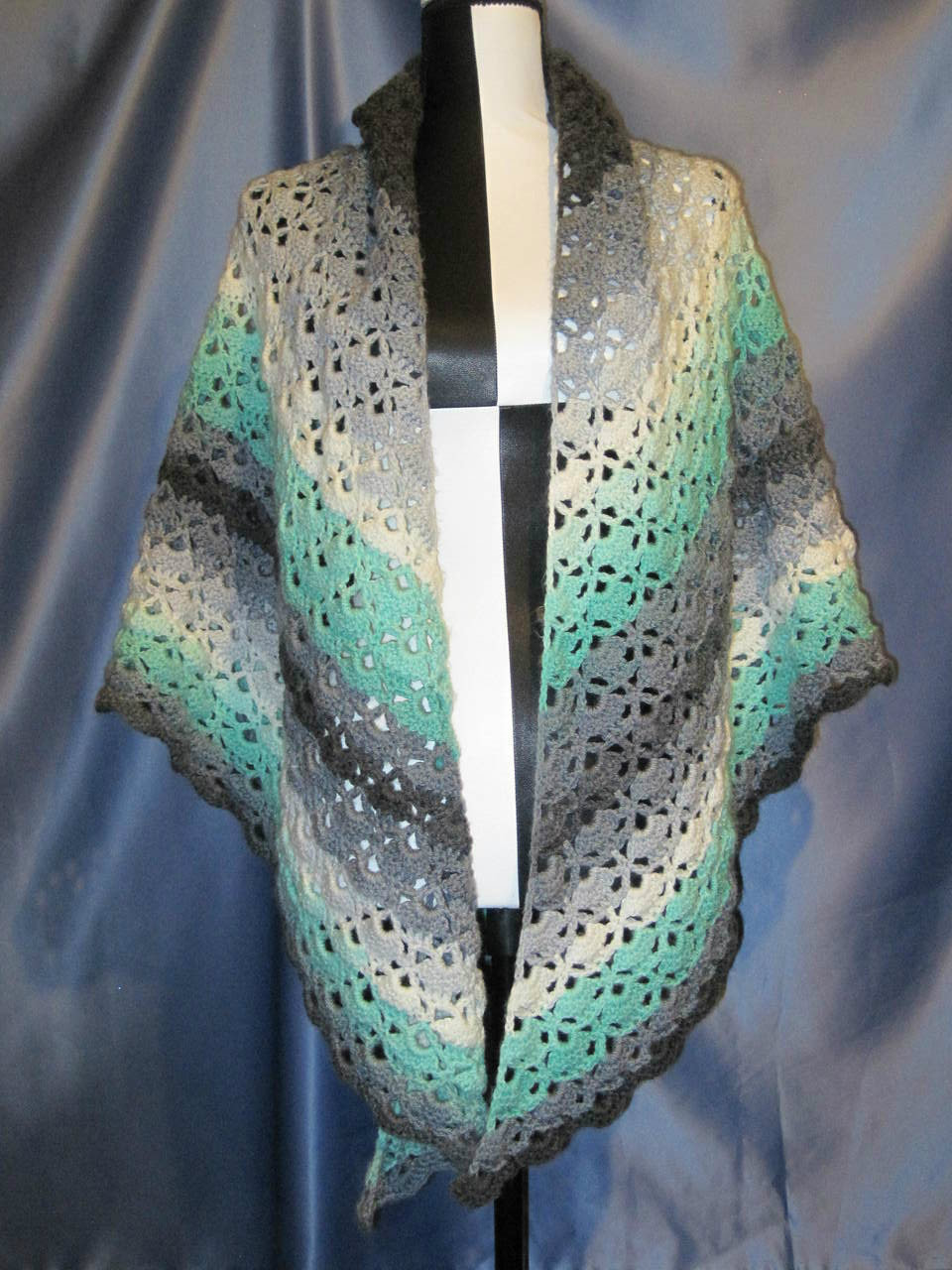 Cloister Shell Shawl in Greens and Greys by Mumsie of S