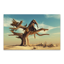 Elephant In Surreal Landscape Art Print