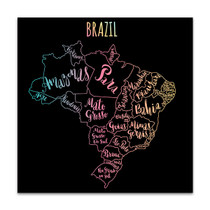Brazil Map Canvas Art Print