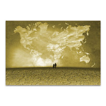 Clouds Of World Map Wall Print