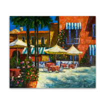 Mediterranean Caf̩ | Orange Canvas Wall Art Paintings for Sale