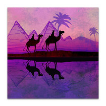 Purple Camel Train Art Print
