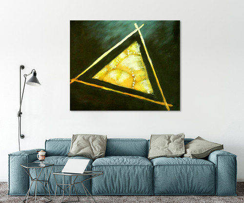 Triangle In Decorating Office Space With Art Canvases