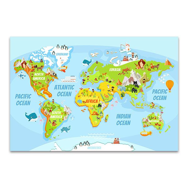 Cartoon world map canvas art print and large wall decor cartoon world map canvas art print gumiabroncs Gallery