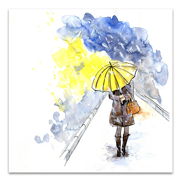 Yellow Umbrella Wall Art Print In Decor For Living Room