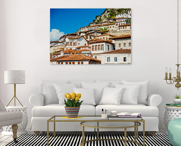 Albania Art Print White Houses Photo Canvas