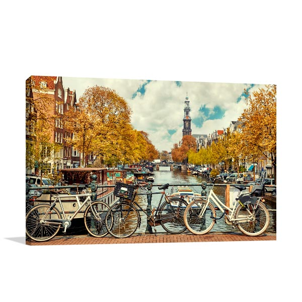 Amsterdam Art Print Bikes in Canal Artwork Canvas