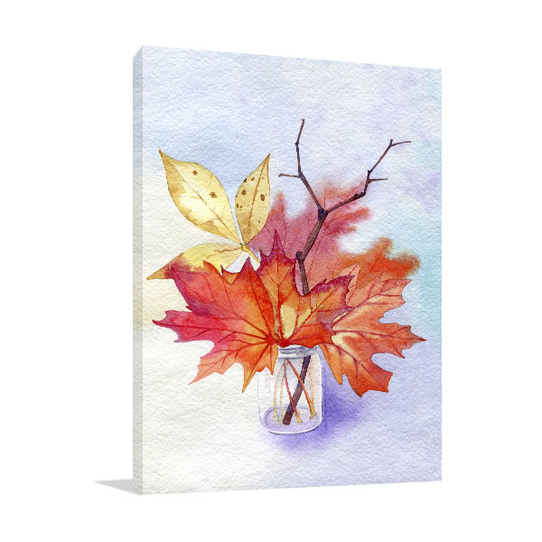 Autumn Leaves In A Glass Jar Canvas Art Prints
