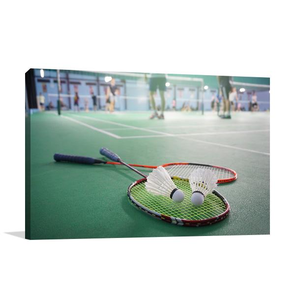 Badminton on Court Art Print Canvas Photo Print