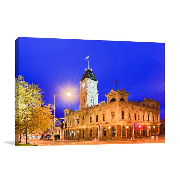 Ballarat Art Print Town Hall Dusk Artwork Canvas